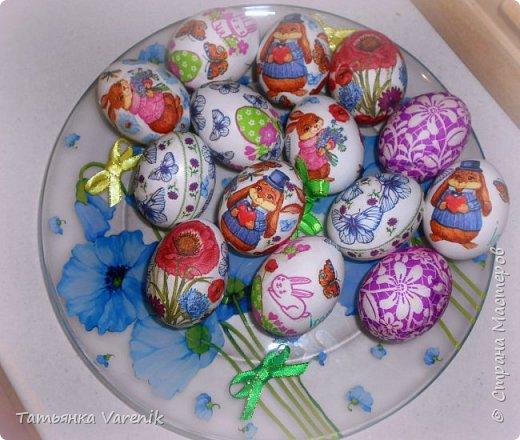 Декупаж пасхальных яиц салфетками и яичным белком фото 1