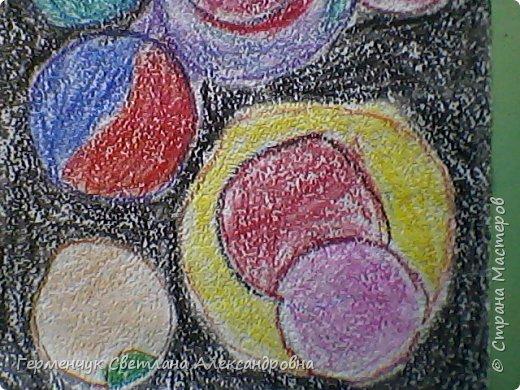 """Рисунок восковыми мелками на мелкозернистой  наждачной бумаге- """"Космос"""".(Рисунок из интернета) фото 8"""