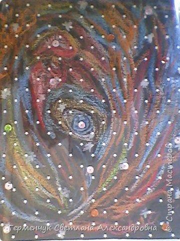 """Рисунок восковыми мелками на мелкозернистой  наждачной бумаге- """"Космос"""".(Рисунок из интернета) фото 2"""