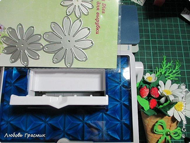 """Влюбилась...бывает... Рассказываю. Маленькая, компактная """"PRIZM"""" от Spellbinders. Только для ножей шириной до 6,5 см. Для цветов и открыток очень даже хорошо. Производителя люблю, еще и за """"Grand Calibur"""". Все детали для букетика справа вырублены на новой машинке фото 2"""