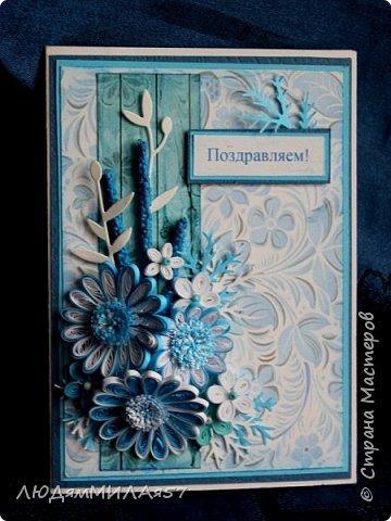 Здравствуйте всем!!!Пока вдохновение со мной творю по мотивам русских росписей.Эти открытки в цветовой палитре Гжели. фото 14