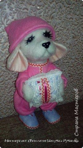 """Здравствуй моя любимая страна, а я к вам с новой игрухой. Вот такая собака-бибизяка у меня сегодня родилась. Вернее собаку я не планировала, а мечтала о мишутке. Но у меня сегодня как в песне у Пугочевой """" Сделать хотел грозу, а получил козу. Розовую козу ......."""" а я сделала собачку Сонечки почему я ещё так назвала видно будет дальше из фоток. фото 6"""