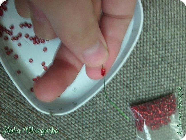 Здравствуйте, дорогие жители СМ! Сегодня я хочу показать МК закладки-цветка в технике бисероплетения. Сильно тапками не забрасывайте - это мой первый МК. фото 5