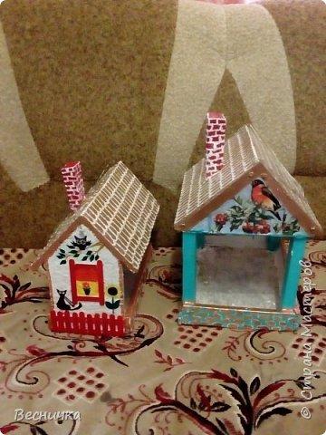 Вот так украсила кормушки для птиц. Сами кормушки деревянные. Трубы сделала из картона и покрыла папье-маше.  фото 1