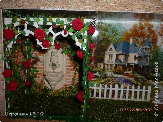 """Всем привет. Моя новая миниатюра """"Сад """" и маленький МК. Миниатюра длинная, почти 60 см, но высотой 15см, поэтому общий вид сделать сложно. Далее будут фрагменты и можно все разглядеть. фото 23"""