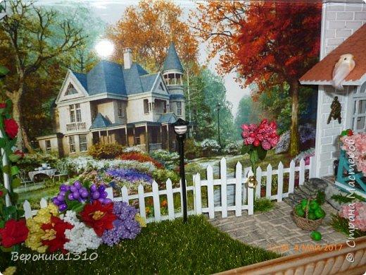"""Всем привет. Моя новая миниатюра """"Сад """" и маленький МК. Миниатюра длинная, почти 60 см, но высотой 15см, поэтому общий вид сделать сложно. Далее будут фрагменты и можно все разглядеть. фото 39"""