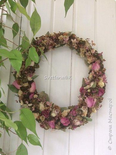 Венок из сухих цветов фото 5