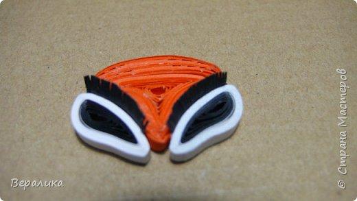 Необходимо было сделать лисичку для открыточки моей младшей внучки. Обыскала весь интернет и не нашла ни одного МК по изготовлению плоскостной лисички.   Для ее изготовления нам понадобятся:  -бумажные полоски шириной 3мм оранжевые, белые и черные длиной 34,5см; -черная полоска 15-17мм длиной и 6-7мм шириной; -клей ПВА, ножницы, расческа с мелкими зубчиками. Сегодня расскажу, как сделать мордочку лисички, а в следующем МК покажу, как сделать  туловище и хвостик. Америки, конечно, не открою, но, может быть, кому-то да и пригодится.  фото 14