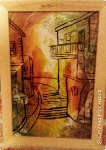 Вот такая у меня получилась работа. Фон энкаустика. Сверху на стекле изображение домов. Эта идея замечательного художника Александра Жиляева. Спасибо ему! фото 1