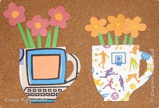У сына совсем скоро выпускной из начальной школы. Вместе с детьми делали подарки учителям. Для предметников сделали вот такие открытки-кружки с цветами. Свой фон для каждого учителя, приклеили цветы. Информатика, физкультура. фото 1