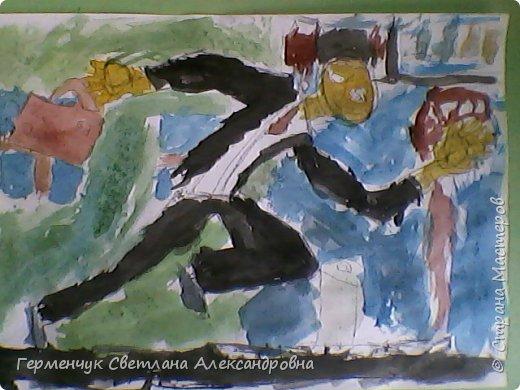 """Работы ребят 4 """"В"""" класса  на уроке ИЗО по теме""""Рисование фигуры человека (пропорции) Культурист фото 14"""