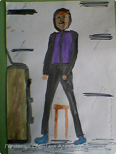 """Работы ребят 4 """"В"""" класса  на уроке ИЗО по теме""""Рисование фигуры человека (пропорции) Культурист фото 13"""