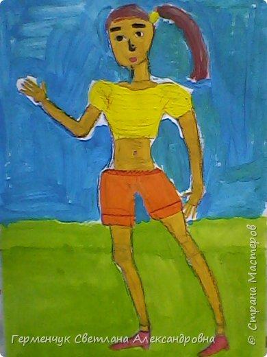 """Работы ребят 4 """"В"""" класса  на уроке ИЗО по теме""""Рисование фигуры человека (пропорции) Культурист фото 11"""