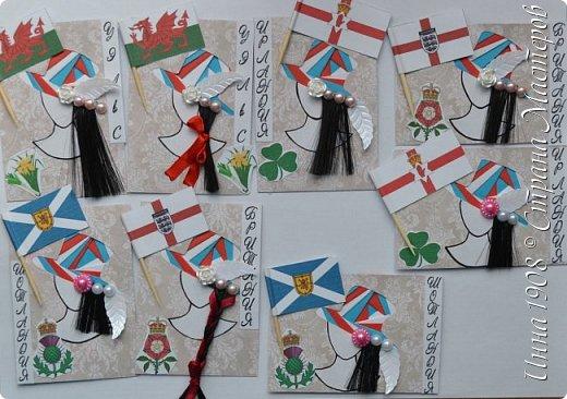 """Доброго времени суток, уважаемые мастерицы! Предлагаю вниманию участников Совместника-3 """"Вкусная география"""" http://stranamasterov.ru/node/1087039?c=favorite серию АТС «Соединенное Королевство». Как известно, Великобритания (Соединенное Королевство) объединяет 4 государства: Британия, Северная Ирландия, Шотландия и Уэльс. На карточках отображены герб, флаг и символы этих государств.  Шляпки выполнены в технике айрис фолдинг. фото 1"""