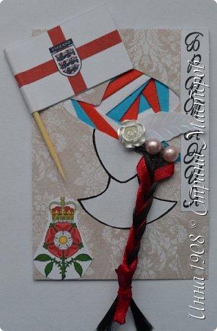 """Доброго времени суток, уважаемые мастерицы! Предлагаю вниманию участников Совместника-3 """"Вкусная география"""" http://stranamasterov.ru/node/1087039?c=favorite серию АТС «Соединенное Королевство». Как известно, Великобритания (Соединенное Королевство) объединяет 4 государства: Британия, Северная Ирландия, Шотландия и Уэльс. На карточках отображены герб, флаг и символы этих государств.  Шляпки выполнены в технике айрис фолдинг. фото 4"""