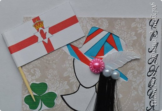 """Доброго времени суток, уважаемые мастерицы! Предлагаю вниманию участников Совместника-3 """"Вкусная география"""" http://stranamasterov.ru/node/1087039?c=favorite серию АТС «Соединенное Королевство». Как известно, Великобритания (Соединенное Королевство) объединяет 4 государства: Британия, Северная Ирландия, Шотландия и Уэльс. На карточках отображены герб, флаг и символы этих государств.  Шляпки выполнены в технике айрис фолдинг. фото 9"""