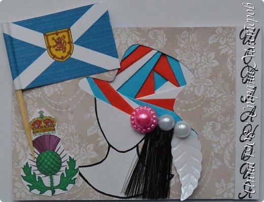 """Доброго времени суток, уважаемые мастерицы! Предлагаю вниманию участников Совместника-3 """"Вкусная география"""" http://stranamasterov.ru/node/1087039?c=favorite серию АТС «Соединенное Королевство». Как известно, Великобритания (Соединенное Королевство) объединяет 4 государства: Британия, Северная Ирландия, Шотландия и Уэльс. На карточках отображены герб, флаг и символы этих государств.  Шляпки выполнены в технике айрис фолдинг. фото 7"""