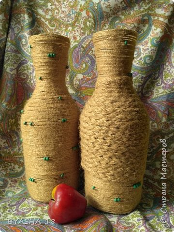 Бутылки, декорирование шпагатом