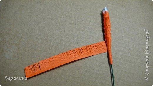 Продолжаем делать нашу лисичку. Расскажу сегодня как я делала тельце, лапку и хвостик. Нам понадобятся: - полоски шириной 3мм и длиной 34,5см оранжевого и красного цвета; - полоска белого и полоска оранжевого цвета шириной 1см; - проволока для флористики; - клеевой пистолет, расческа мелкая, клей ПВА. фото 21