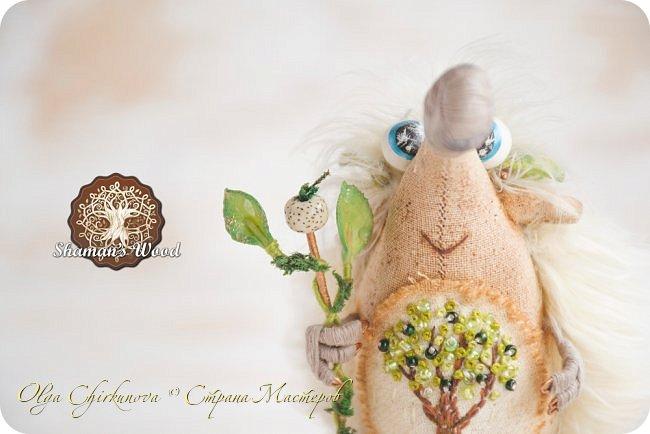 Юлий! Этот ёжик, словно частичка лета! Он любит зеленые листочки и солнечную погоду. Светлые иголочки, сопливый пятнистый носик, голубые глазки, очаровательная улыбка, лохматая челка и веснушки. На заплате вышито зеленое дерево — символ богатства и процветания. На голове венок, а в лапке посох волшебный с лотосом. Если ёжик возьмет что-нибудь в лапку, взятое приумножается. Такая у него магия! Однажды ежик Кеша попросил побольше яблок, а потом замучился собирать их в саду, да запихивать в погреб. фото 6