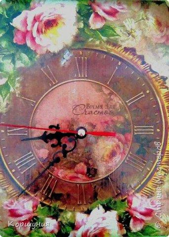Приветствую,жители Страны Мастеров!Изготовила настенные часики,с нуля,без специальных заготовок.В основе лист фанеры(по размеру декупажной карты А4),потолочная плитка,рамка-потолочный плинтус.Это мои вторые часы. фото 3