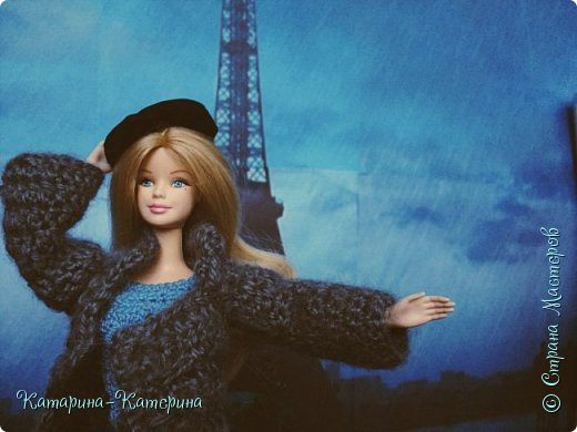 """Доброго времени суток! Я вернулась:) Сегодня я покажу комплект под названием """"Дождливый Париж"""". Диорама """"эйфелева башня"""" делалась специально для фотосессии. В комплекте пальто, юбка и топ, сапоги и беретка - фирменные. фото 8"""