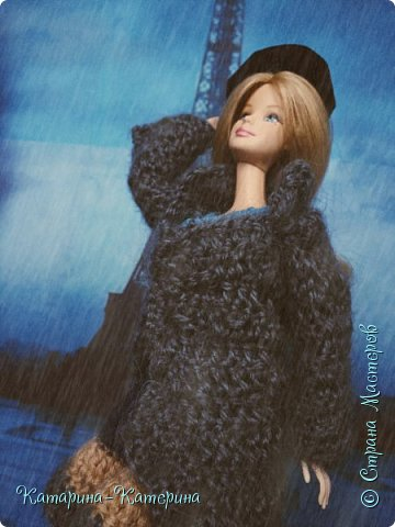 """Доброго времени суток! Я вернулась:) Сегодня я покажу комплект под названием """"Дождливый Париж"""". Диорама """"эйфелева башня"""" делалась специально для фотосессии. В комплекте пальто, юбка и топ, сапоги и беретка - фирменные. фото 4"""