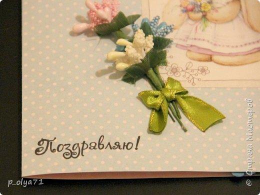 ЗДРАВСТВУЙТЕ!!! Сегодня я заканчиваю отчёт о подарочках девочкам Полине    http://stranamasterov.ru/user/429450          и  Танюшке(её мама Вика     http://stranamasterov.ru/user/400747         )  В моих хотелках очень много новых техник,которые я бы очень хотела попробовать,одна из них - открытки! А раз повод нашёлся,я с удовольствием,пересмотрев уйму информации по этому поводу,пошла в магазин,купила очень красивую бумагу и,боясь всё напрочь испортить,принялась за дело)) Появились вот такие(на мой,нескромный взгляд)),простенькие,но в то же время милые,нежненькие открыточки!!)) Очень мне понравились! А как мне понравилось делать открытки,вы и представить не можете)))) Теперь к моим любимым видам работ,от которых мне трудно отрываться, прибавилась ещё одна!)) фото 11