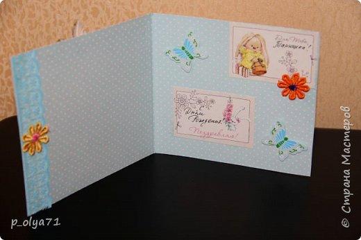 ЗДРАВСТВУЙТЕ!!! Сегодня я заканчиваю отчёт о подарочках девочкам Полине    http://stranamasterov.ru/user/429450          и  Танюшке(её мама Вика     http://stranamasterov.ru/user/400747         )  В моих хотелках очень много новых техник,которые я бы очень хотела попробовать,одна из них - открытки! А раз повод нашёлся,я с удовольствием,пересмотрев уйму информации по этому поводу,пошла в магазин,купила очень красивую бумагу и,боясь всё напрочь испортить,принялась за дело)) Появились вот такие(на мой,нескромный взгляд)),простенькие,но в то же время милые,нежненькие открыточки!!)) Очень мне понравились! А как мне понравилось делать открытки,вы и представить не можете)))) Теперь к моим любимым видам работ,от которых мне трудно отрываться, прибавилась ещё одна!)) фото 6