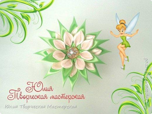 Цветок канзаши с двойными лепестками из лент 2,5 см и 1 см мастер класс