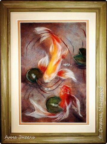 <<Девичий виноград>> - Шерстяная акварель - картина моего сына Левы, сложный и тяжелый недельный труд - 30х40 фото 2