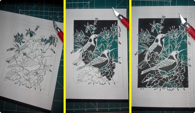 """Всем добрый день! Вашему вниманию новая открытка с птичками. - Восточный шилоклювый медосос (лат. Acanthorhynchus tenuirostris) — вид воробьинообразных птиц из семейства медососовых (Meliphagidae). - Встречается в восточной части Австралии. Питается нектаром множества растений, помимо нектара питается беспозвоночными - Эскиз для """"вырезалки"""" выполнен, изменён и доработан по цветной работе австралийской художницы Dtidre Hunt.  - Размер открытки 12х16см. фото 2"""