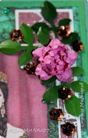Здравствуйте всем!!!Заканчиваю свою серию открыток по Бажовским сказам. Заканчивается фантазия,заканчиваются картинки и вдохновение просится на отдых.Наверное я бы не стала делать и эти открытки,но уж больно хотелось сделать открытку на акварельном фоне....... фото 18