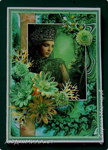 Здравствуйте всем!!!Заканчиваю свою серию открыток по Бажовским сказам. Заканчивается фантазия,заканчиваются картинки и вдохновение просится на отдых.Наверное я бы не стала делать и эти открытки,но уж больно хотелось сделать открытку на акварельном фоне....... фото 9