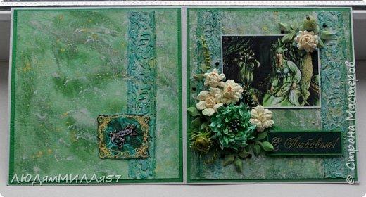 Здравствуйте всем!!!Заканчиваю свою серию открыток по Бажовским сказам. Заканчивается фантазия,заканчиваются картинки и вдохновение просится на отдых.Наверное я бы не стала делать и эти открытки,но уж больно хотелось сделать открытку на акварельном фоне....... фото 3