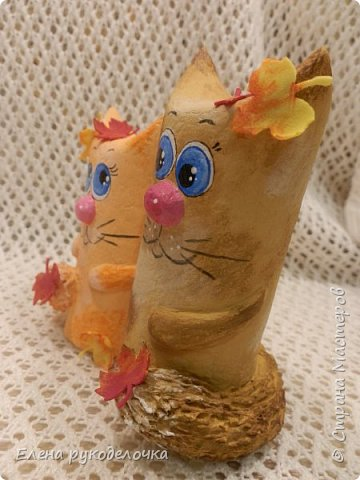 Продолжаю утилизировать рулончики от ТБ и бумажных полотенец. Кошечка сделана из рулончика от ТБ, а котик из рулончика от бумажного полотенца. Здесь можно посмотреть сову и ёжика  http://stranamasterov.ru/node/1097944 . фото 15