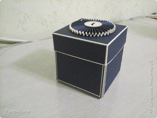 Доброго времени, всем! решила показать коробочку выполненную на день рождения для коллеги по работе.Коробочка уже подарена. В основе бумага для пастели и картон тач кавер синего цвета.Синяя бумага с тиснением. фото 1