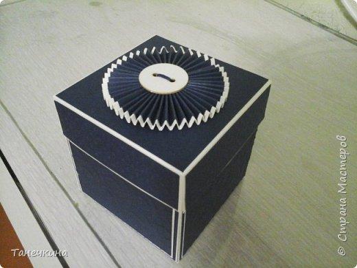 Доброго времени, всем! решила показать коробочку выполненную на день рождения для коллеги по работе.Коробочка уже подарена. В основе бумага для пастели и картон тач кавер синего цвета.Синяя бумага с тиснением. фото 3
