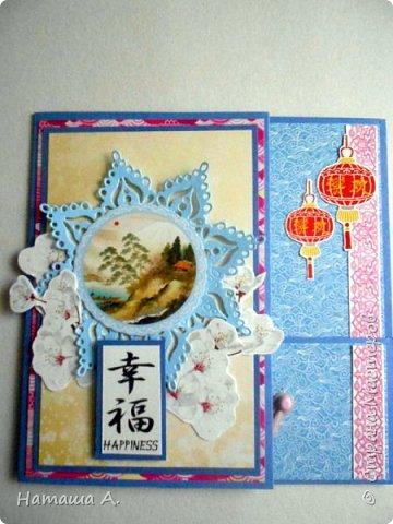 Первая открытка с душистым горошком. Форма меня покорила, так же мне она нравится. Бумага из коллекции Душистый горошек от М. Пайнтер (в Леонардо). фото 6