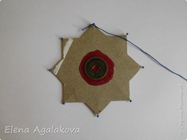 """Сегодня я хочу показать плетение мандалы на картонной основе. Эта мандалу еще называют """"Португальская звезда"""" фото 4"""