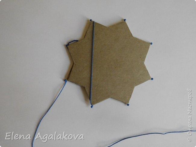 """Сегодня я хочу показать плетение мандалы на картонной основе. Эта мандалу еще называют """"Португальская звезда"""" фото 7"""