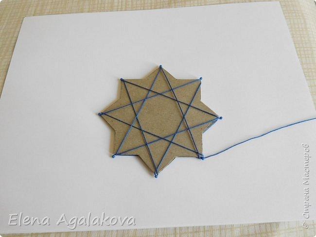 """Сегодня я хочу показать плетение мандалы на картонной основе. Эта мандалу еще называют """"Португальская звезда"""" фото 11"""