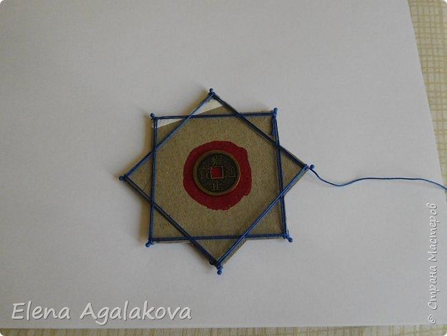 """Сегодня я хочу показать плетение мандалы на картонной основе. Эта мандалу еще называют """"Португальская звезда"""" фото 12"""