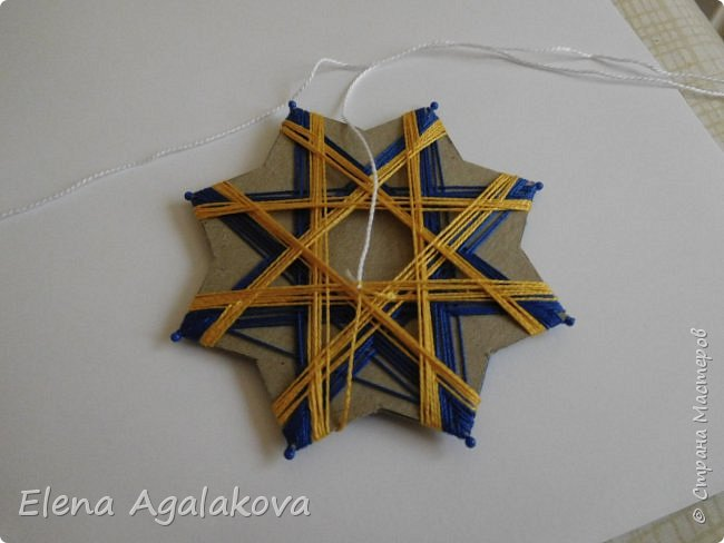 """Сегодня я хочу показать плетение мандалы на картонной основе. Эта мандалу еще называют """"Португальская звезда"""" фото 15"""