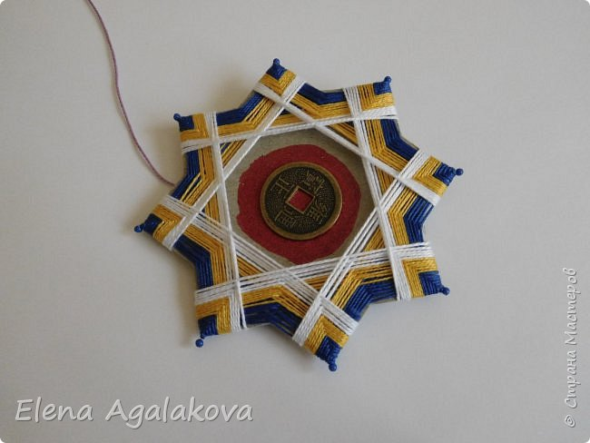 """Сегодня я хочу показать плетение мандалы на картонной основе. Эта мандалу еще называют """"Португальская звезда"""" фото 16"""