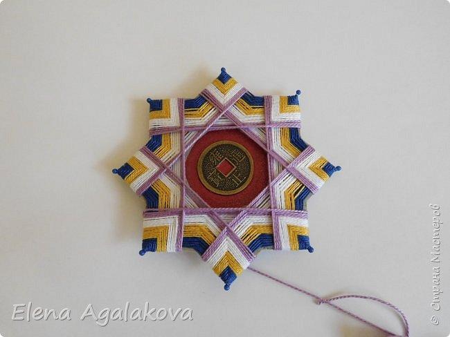 """Сегодня я хочу показать плетение мандалы на картонной основе. Эта мандалу еще называют """"Португальская звезда"""" фото 17"""
