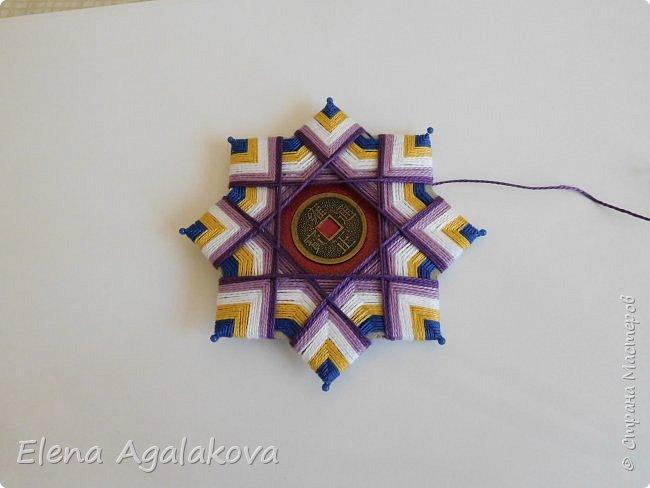 """Сегодня я хочу показать плетение мандалы на картонной основе. Эта мандалу еще называют """"Португальская звезда"""" фото 18"""