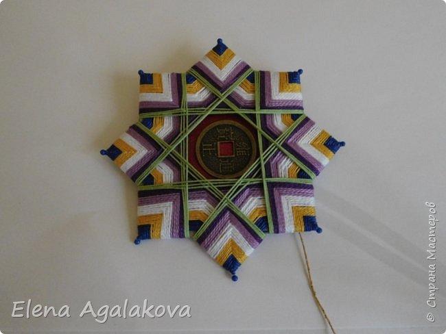 """Сегодня я хочу показать плетение мандалы на картонной основе. Эта мандалу еще называют """"Португальская звезда"""" фото 19"""