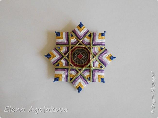 """Сегодня я хочу показать плетение мандалы на картонной основе. Эта мандалу еще называют """"Португальская звезда"""" фото 20"""