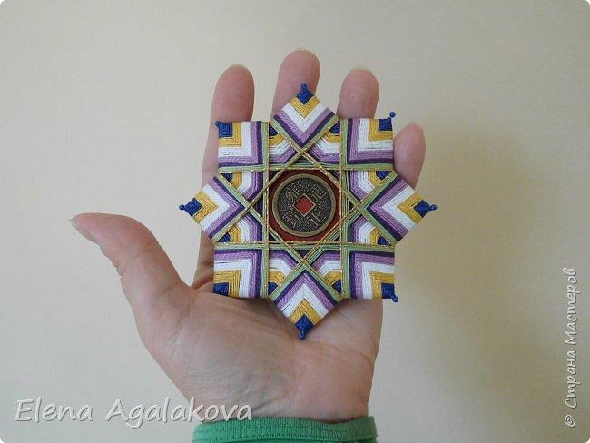 """Сегодня я хочу показать плетение мандалы на картонной основе. Эта мандалу еще называют """"Португальская звезда"""" фото 21"""